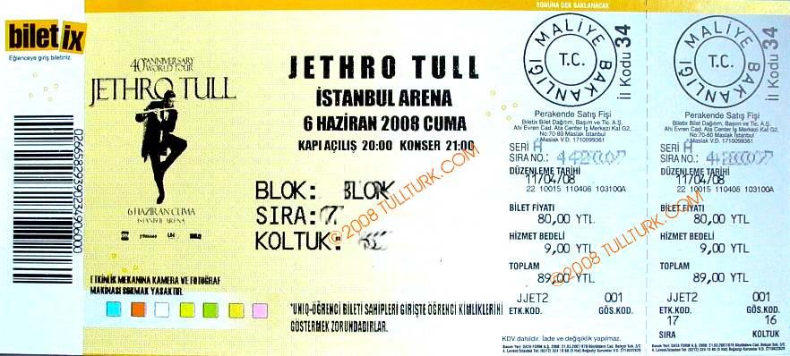 JT Istanbul  Ticket 2008