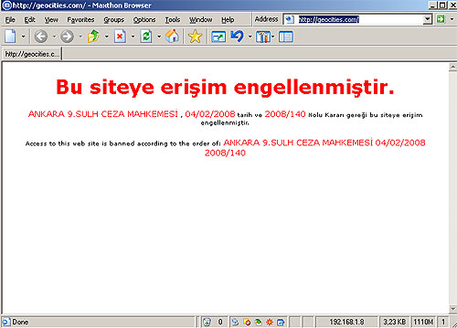 All GEOCITIES sites in Turkey are closed Censored since, Feb 13, 2008l