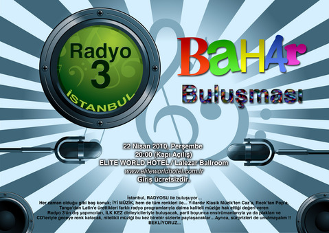 Radyo3 Istanbul Party Poster, 22 April, 2010