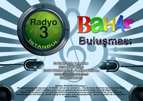 Radyo3 Istanbul Party Poster, 22 April, 2010